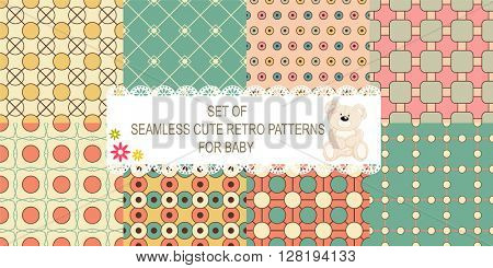 Set of 8 retro different vector seamless patterns (tiling) of blue, ivory, pink and green colors. Endless texture can be used for pattern fills, web page background, baby and scrapbooking design