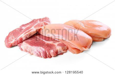 Pieces of pork and chicken meat, isolated on white