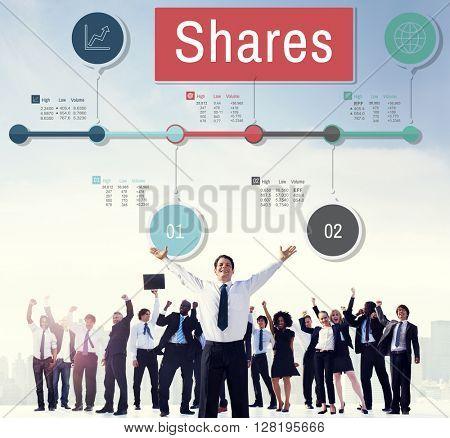 Shares Global Business Information Data Concept