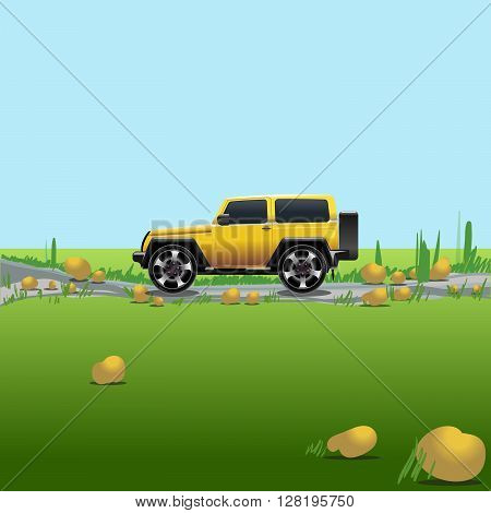 Yellow offroad car on a countryside. Auto trip. Green meadows and blue sky with no clouds. Digital vector illustration.