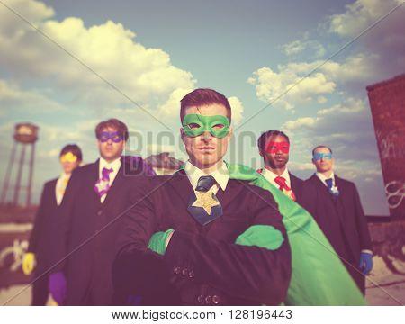 Businessmen Superhero Team Confidence Concept