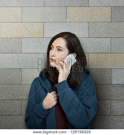 Girl Hoodie Unhappy Phone Call Concept