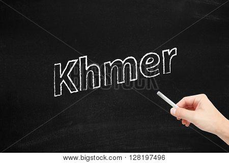 The language of Khmer written on a blackboard