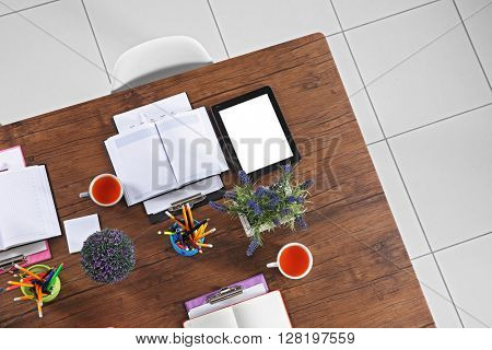 Office table for meetings, top view