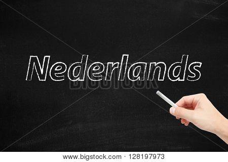 The language of Nederlands written on a blackboard