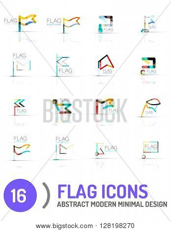 Flag icon logo vector collection, linear design