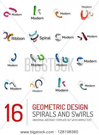 Logo vector collection - ribbon waves, swirls, spirals