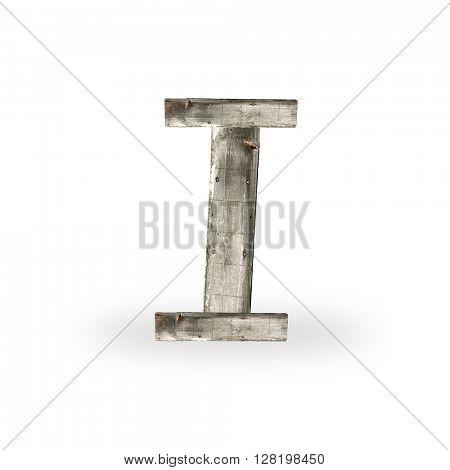 Wooden letter I on white