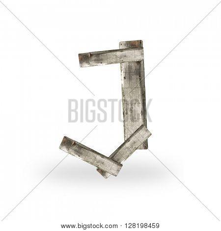 Wooden letter J on white