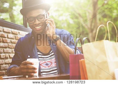 Man Shopping Outdoor Talking Mobile Phone Concept