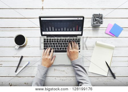 Business Person Working Connecting Laptop Concept