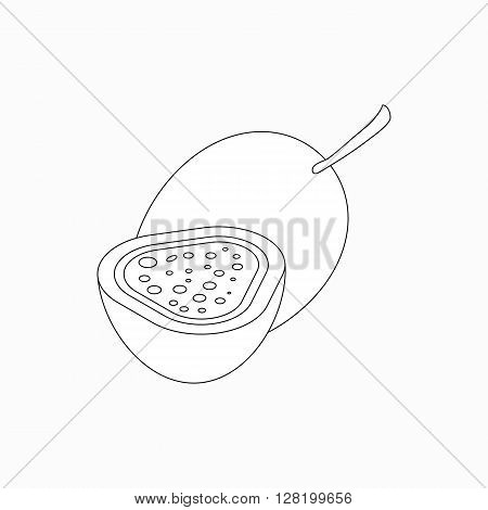 Whole fig and half of fig icon in isometric 3d style isolated on white background