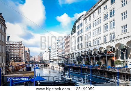 HAMBURG, GERMANY - APRIL 3 : Street view of Downtown Hamburg on April 3, 2015, in Hamburg, Germany.