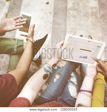 Students Break Analysis DIgital Tablet Mobile Phone Technology Concept