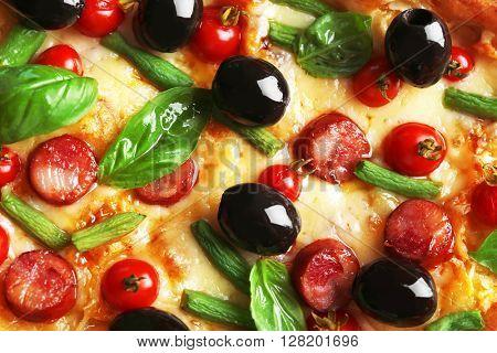 Tasty pizza background, macro