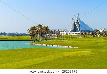 Dubai U.A.E. - February 13 2007: The club house of the Creek Golf