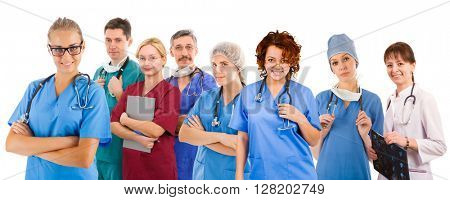 Smiley medical team of eight people. Six female an two male doctors