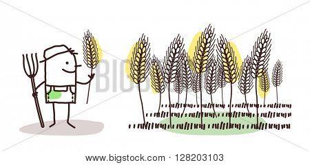 cartoon farmer - wheat land