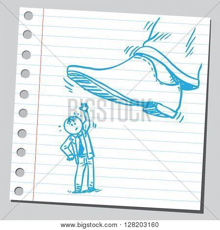 Little businessman under the big shoe
