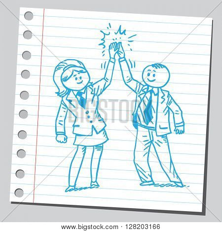 Businessman and businesswoman giving one another high five