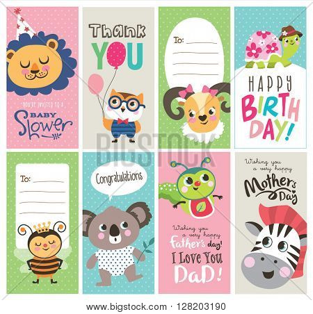 Set of greeting cards with cute cartoon animals
