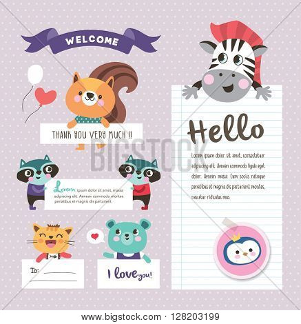 Cute cartoon animals with text space