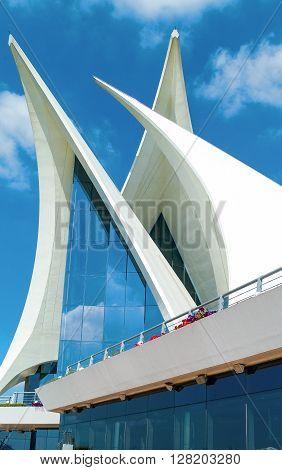 Dubai U.A.E. - February 15 2007: The architecture of the club house of the Creek Golf