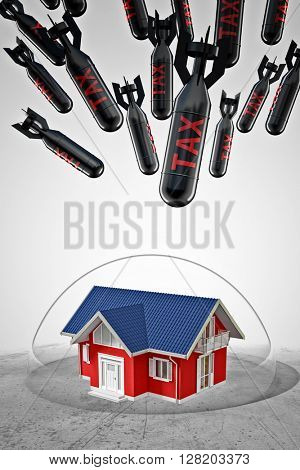 3d image of house under protection bubble and tax rocket