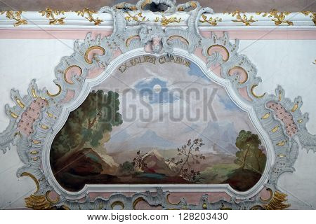 ZIEMETSHAUSEN, GERMANY - JUNE 09: Fresco in the Maria Vesperbild Church in Ziemetshausen, Germany on June 09, 2015.