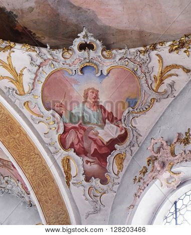 ZIEMETSHAUSEN, GERMANY - JUNE 09: Saint John the Evangelist, fresco in the Maria Vesperbild Church in Ziemetshausen, Germany on June 09, 2015.