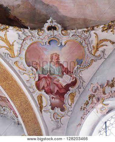 ZIEMETSHAUSEN, GERMANY - JUNE 09: Saint John the Evangelist, fresco in the Maria Vesperbild Church in Ziemetshausen, Germany on June 09, 2015.