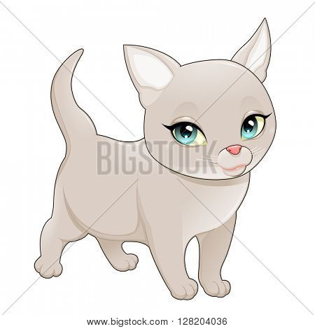 Cute cartoon cat. Vector isolated character