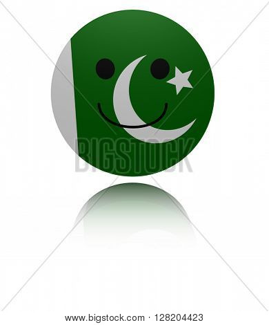 Pakistan happy icon with reflection 3d illustration