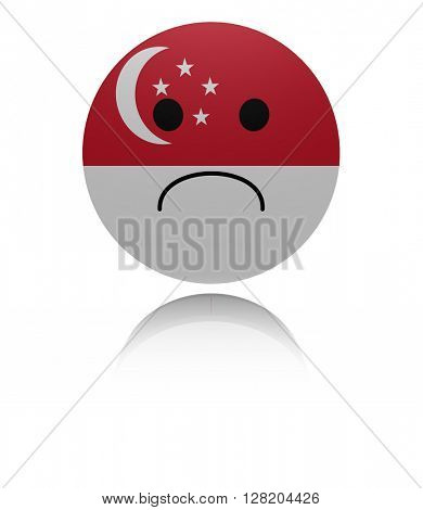 Singapore sad icon with reflection 3d illustration