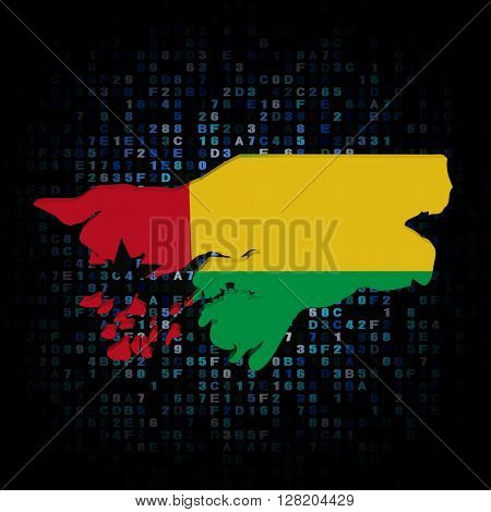 Guinea Bissau map flag on hex code 3d illustration