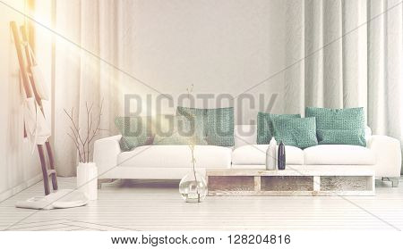 Wide white sofa next to sunlight streaming through side window in between flowing curtains and large glass vase with branches. 3d Rendering.