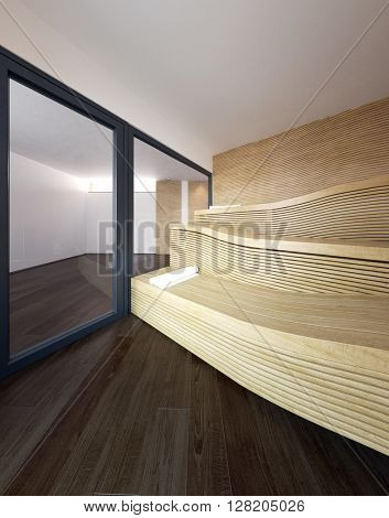 Architectural Interior of Modern Sauna in Luxury Home with Wavy Wooden Recliner Seat Benches and Rolled White Towels for Guests. 3d Rendering.