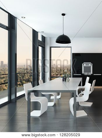 Stylish modern molded dining suite in a luxury black and white open-plan living room interior with panoramic glass windows overlooking the city at dusk. 3d rendering