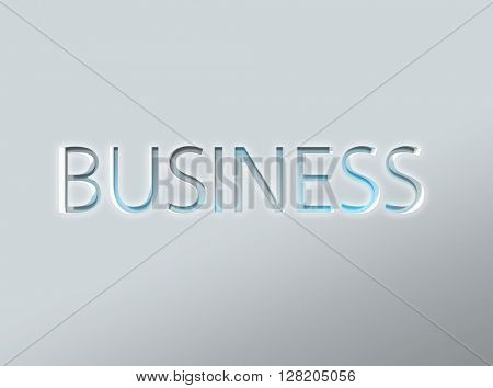 Smooth etched letters of the word business in metallic solid background for commerce concept