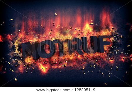 Burning coals and exploding flames surrounding the phrase Notruf over black background