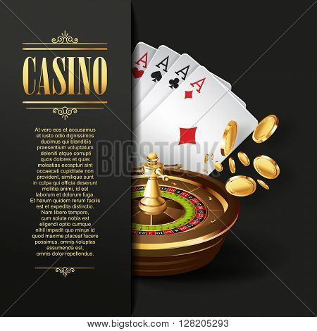 Casino background. Vector Poker illustration. Gambling template. Casino design with roulette wheel and  playing cards. Four aces.