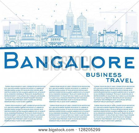 Outline Bangalore Skyline with Blue Buildings and Copy Space. Vector Illustration. Business Travel and Tourism Concept with Historic Buildings. Image for Presentation Banner Placard and Web Site.