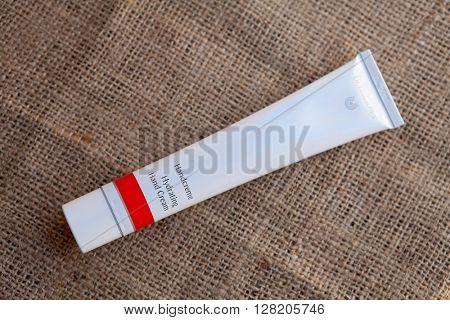 ZAGREB, CROATIA - APRIL 21th, 2016: Dr Hauschka hand cream is presented in Zagreb, product shot