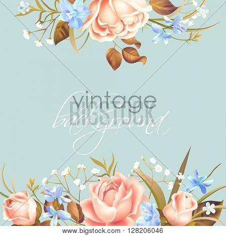 Vintage background with floral border. Vector illustration.