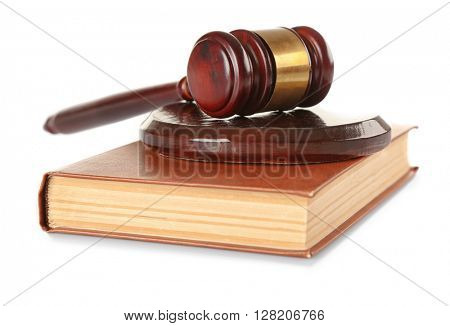 Gavel and book isolated on white
