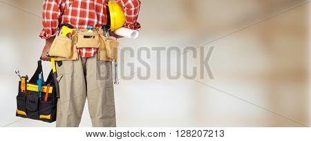 Back of handyman with a tool bag.
