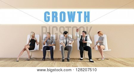 Business Growth Being Discussed in a Group Meeting 3D Illustration Render