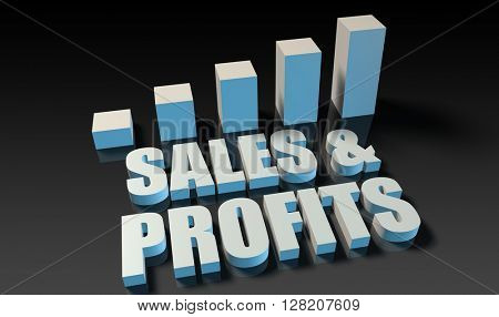 Sales and profits graph chart in 3d on blue and black 3D Illustration Render
