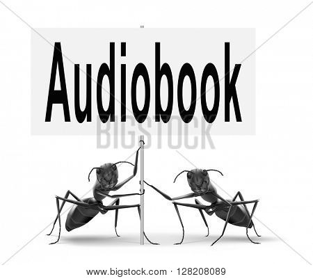 audiobook, listen online or buy and download audio book; road sign, billboard.
