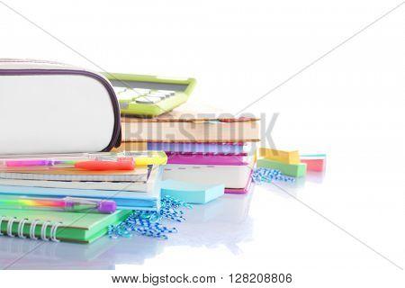 Set of new stationery isolated on white